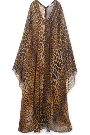Saint Laurent Maxikleid aus Seidenchiffon mit Leopardenprint