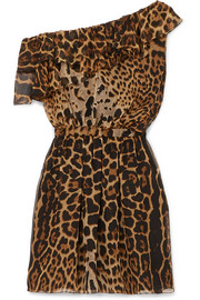 Saint Laurent One-shoulder ruffled leopard-print silk-chiffon mini dress
