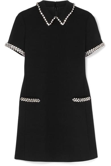 412c09769a Crystal-embellished wool-cady mini dress