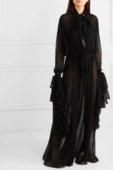 Saint Laurent Dress Pussy-bow pleated silk-chiffon gown