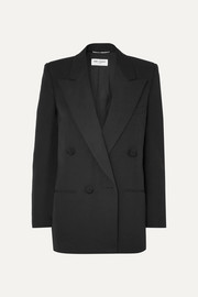 Double-breasted satin-trimmed wool blazer