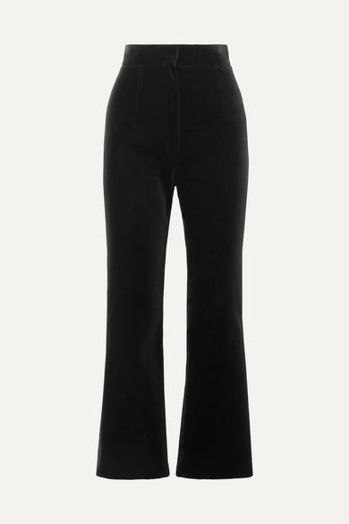 Saint Laurent Pants Cropped cotton-velvet flared pants