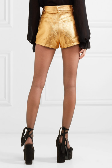 Saint Laurent Shorts Metallic crinkled-leather shorts
