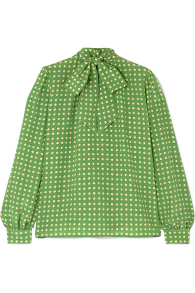 Pussy Bow Printed Silk Blouse by Saint Laurent