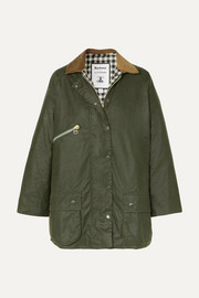 + ALEXACHUNG Edith corduroy-trimmed waxed-cotton jacket
