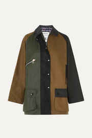 + ALEXACHUNG corduroy-trimmed color-block waxed-cotton jacket