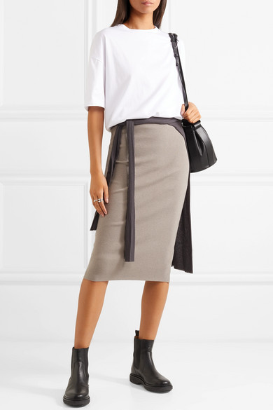 Ribbed Stretch Cotton Midi Skirt by James Perse