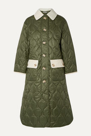 Barbour + ALEXACHUNG Annie corduroy-trimmed quilted shell coat