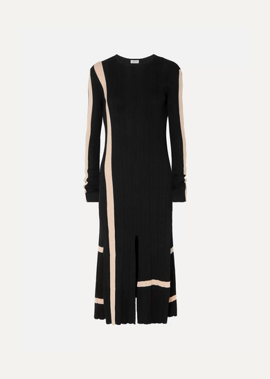 Striped Ribbed Cotton Midi Dress by Loewe