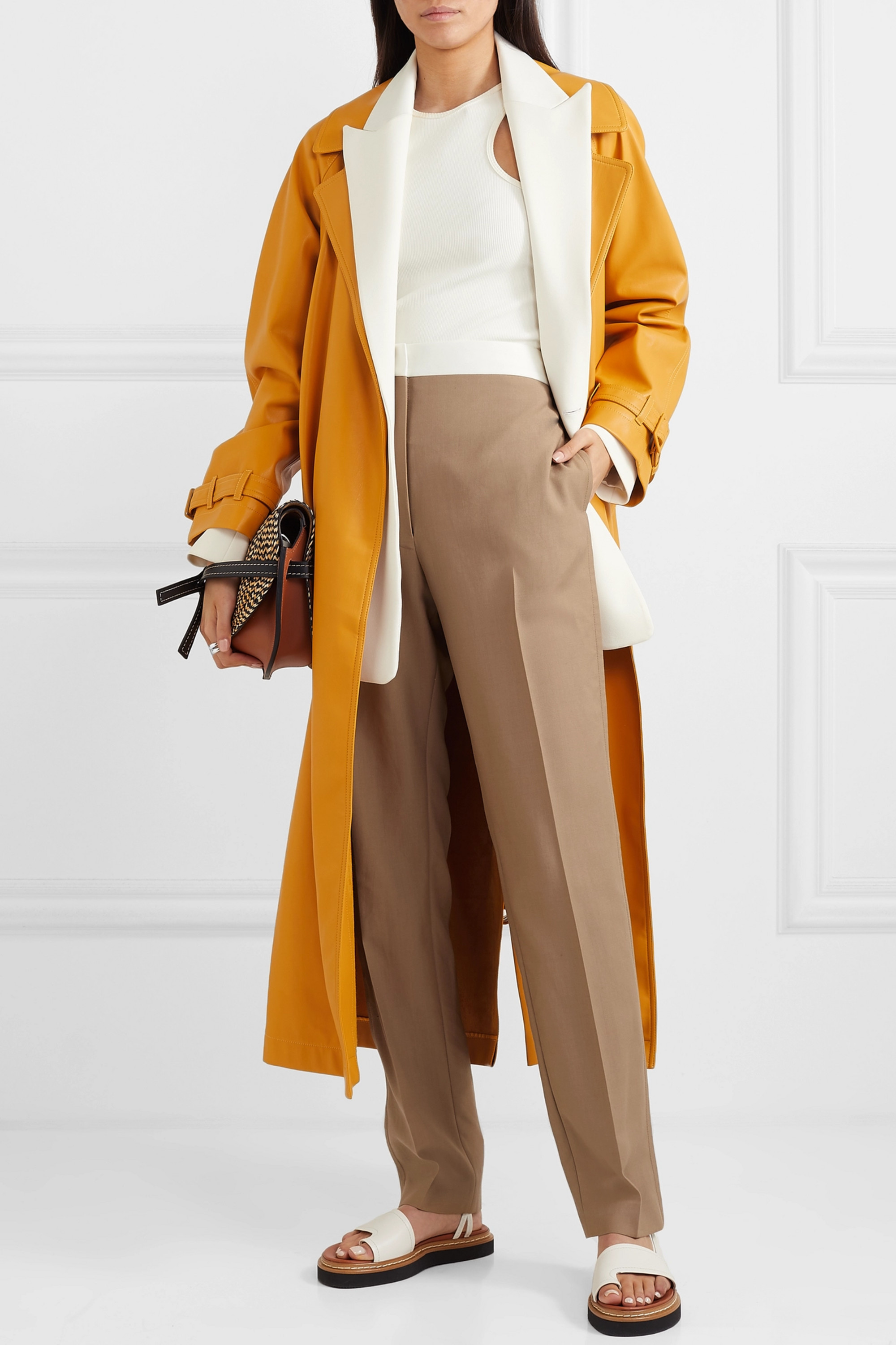 Loewe Two-tone wool slim-leg pants