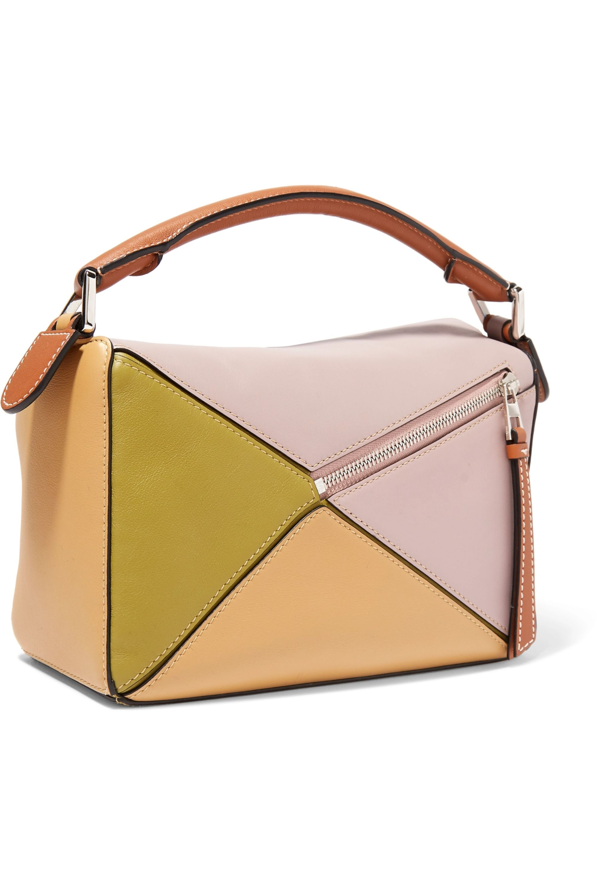 Loewe + Paula's Ibiza Puzzle small color-block textured-leather shoulder bag