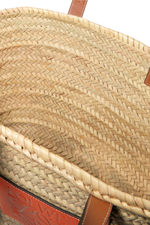Loewe + Paula's Ibiza medium leather-trimmed woven raffia tote