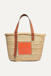 + Paula's Ibiza medium leather-trimmed woven raffia tote