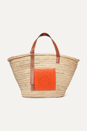+ Paula's Ibiza large leather-trimmed woven raffia tote