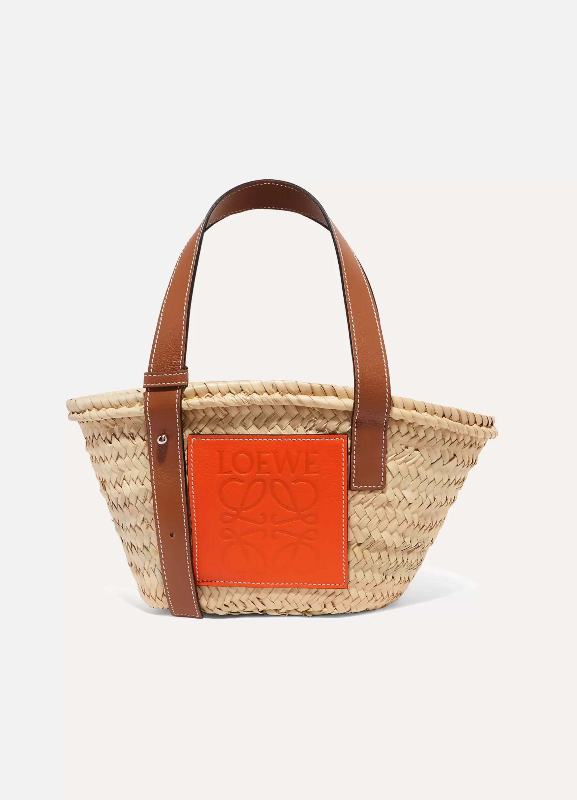 Loewe + Paula's Ibiza small leather-trimmed raffia tote