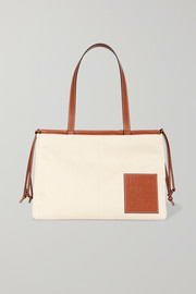 + Paula's Ibiza Cushion large leather-trimmed canvas tote
