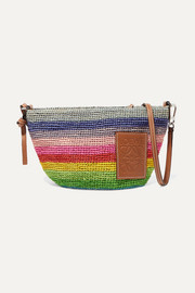 + Paula's Ibiza Pochette small leather-trimmed striped raffia shoulder bag