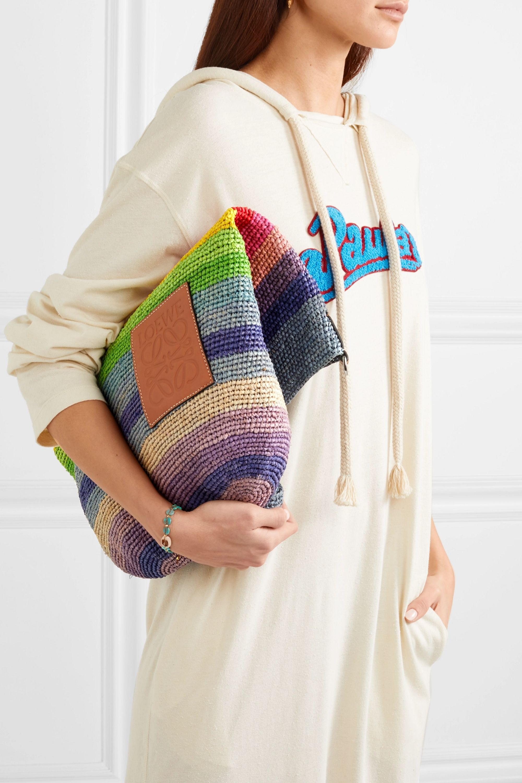 Loewe + Paula's Ibiza Slit leather-trimmed striped raffia tote