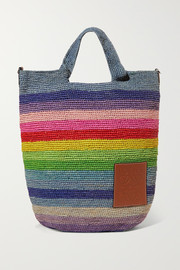 + Paula's Ibiza Slit leather-trimmed striped raffia tote