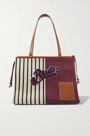 + Paula's Ibiza Cushion medium appliquéd leather-trimmed striped canvas tote