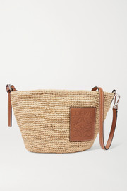 Paula leather-trimmed woven raffia shoulder bag