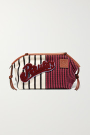 Loewe + Paula's Ibiza Cushion appliquéd leather-trimmed striped canvas pouch