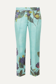 CEO cropped floral-print silk-twill straight-leg pants