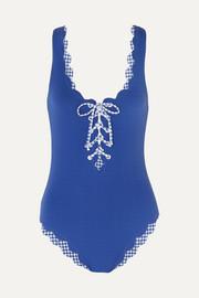 Palm Springs scalloped lace-up stretch-crepe swimsuit