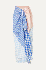 Picnic gingham Tencel and cotton-blend pareo
