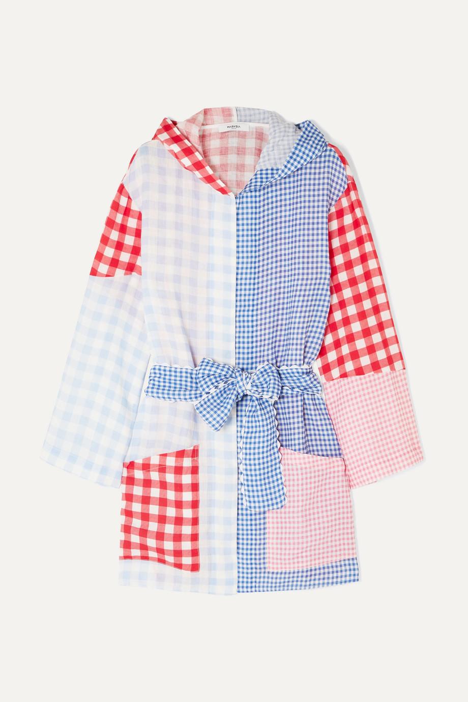 Marysia Patchwork gingham linen hooded robe