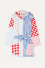 Sommermantel aus Leinen mit Gingham-Karo und Kapuze in Patchwork-Optik