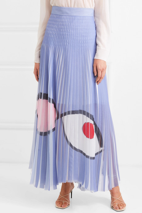 Frayed printed plissé-organza maxi skirt
