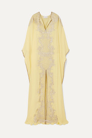 Embellished embroidered silk crepe de chine gown