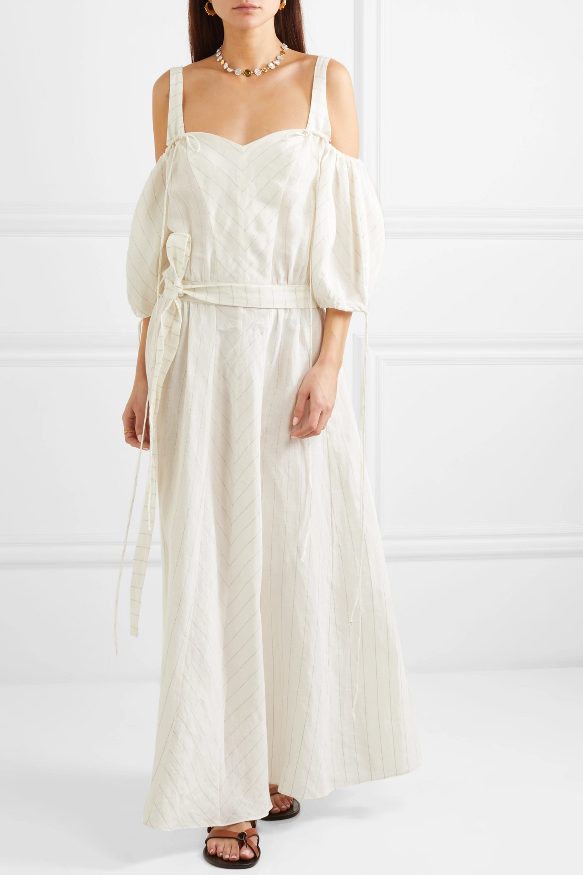 Loewe + Paula's Ibiza cold-shoulder striped linen-blend gown