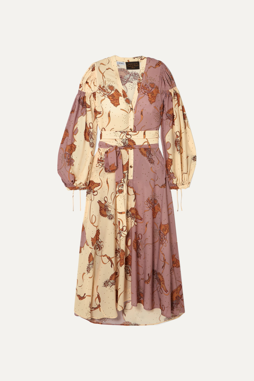Loewe + Paula's Ibiza belted printed crepe de chine maxi dress