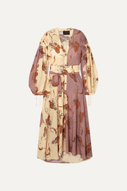 Loewe + Paula's Ibiza belted printed crepe de chine maxi dress