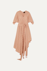 + Paula's Ibiza belted striped cotton-gauze midi dress
