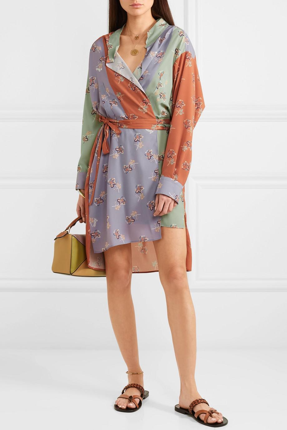 Loewe + Paula's Ibiza belted printed crepe de chine wrap dress