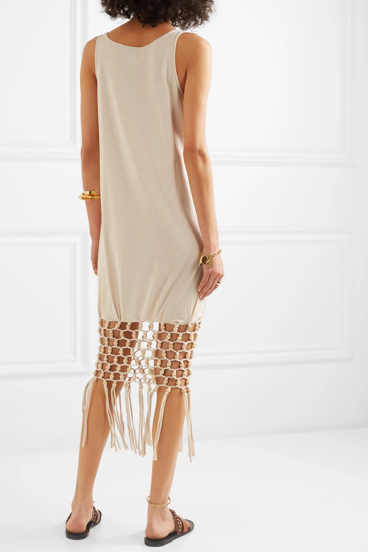 Loewe + Paula's Ibiza embellished macramé-trimmed silk and cotton-blend jersey dress