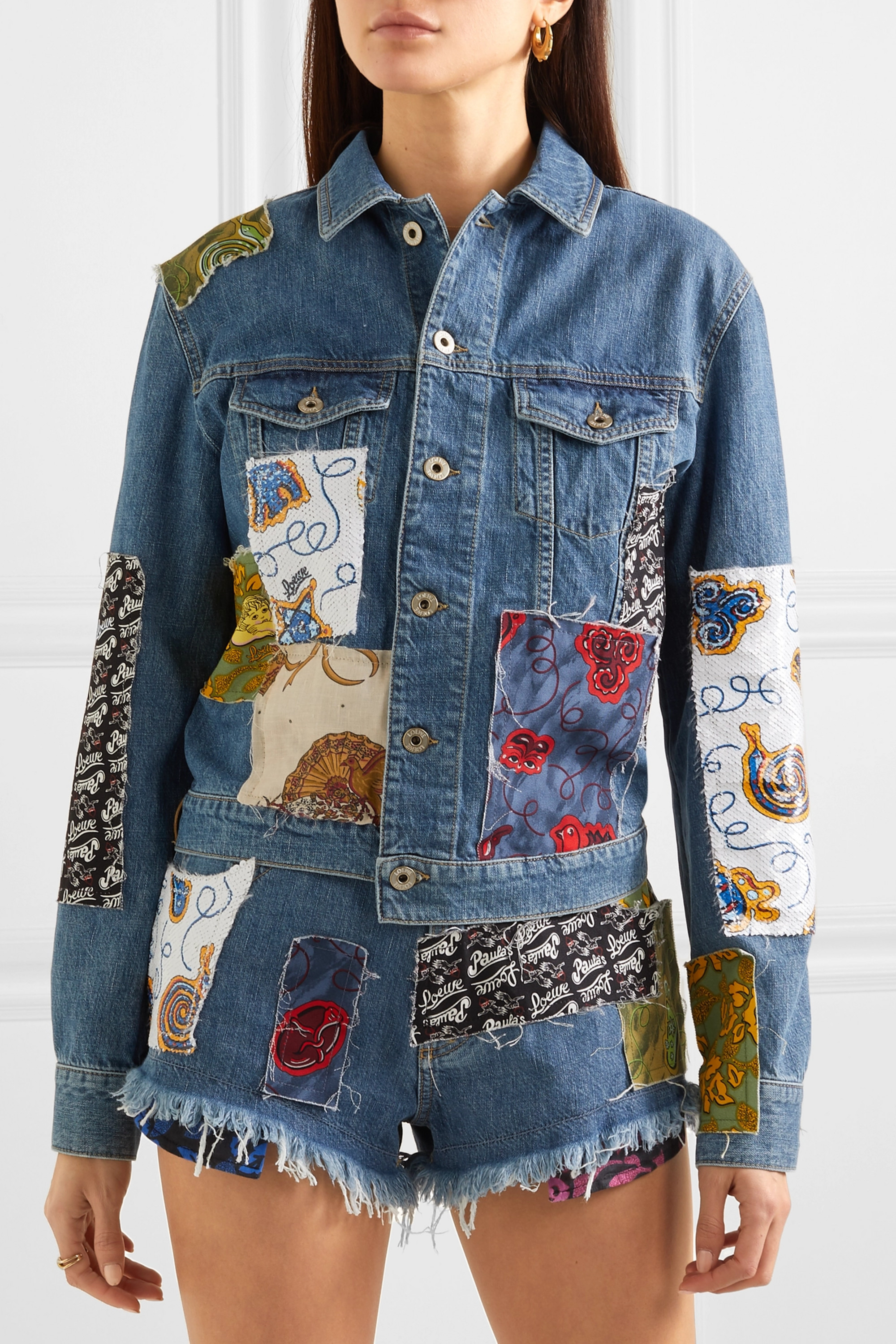 Loewe + Paula's Ibiza cropped patchwork printed voile and denim jacket