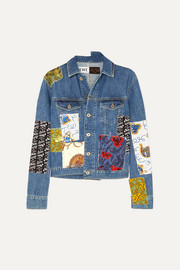 + Paula's Ibiza cropped patchwork printed voile and denim jacket