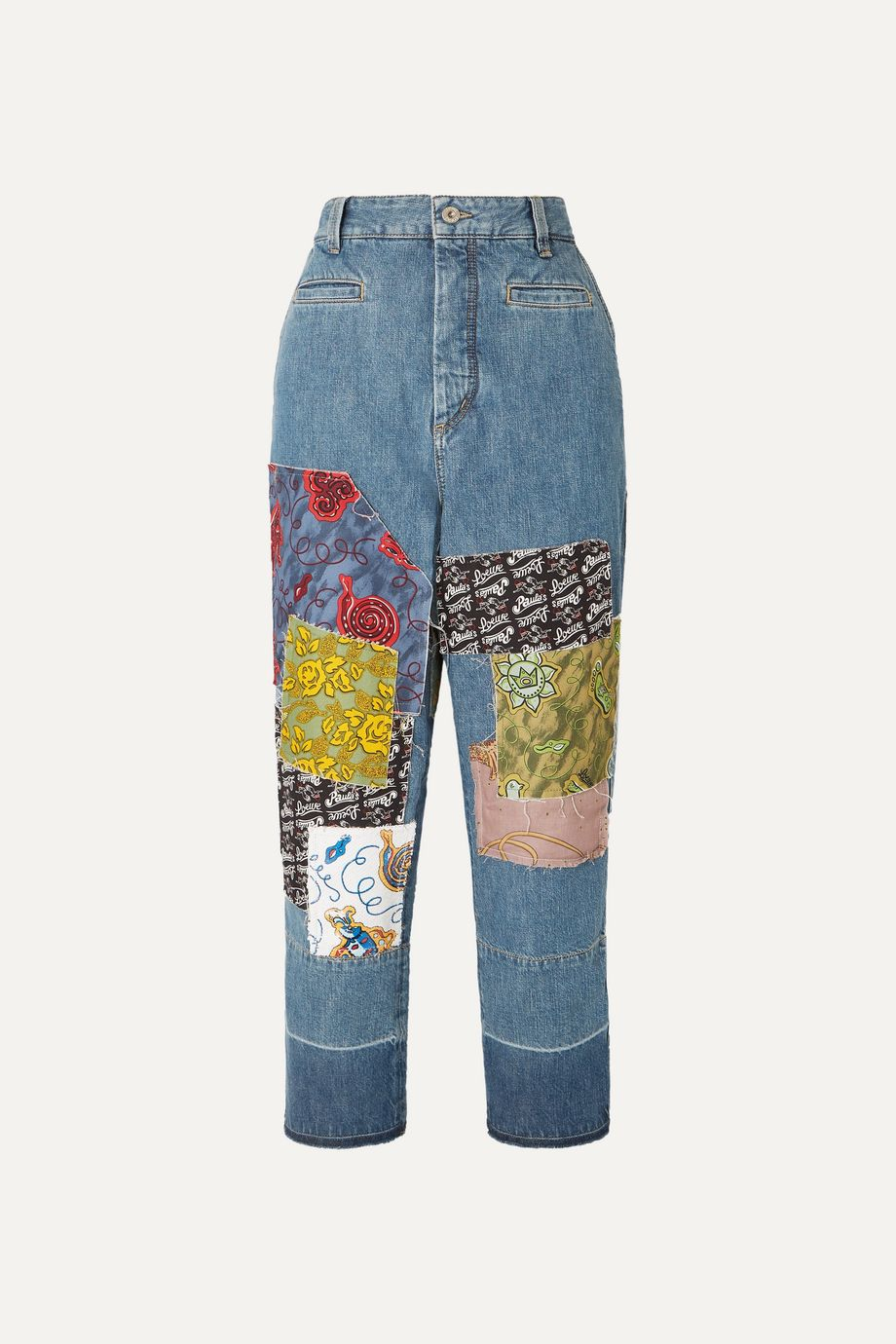 Loewe + Paula's Ibiza cropped patchwork boyfriend jeans