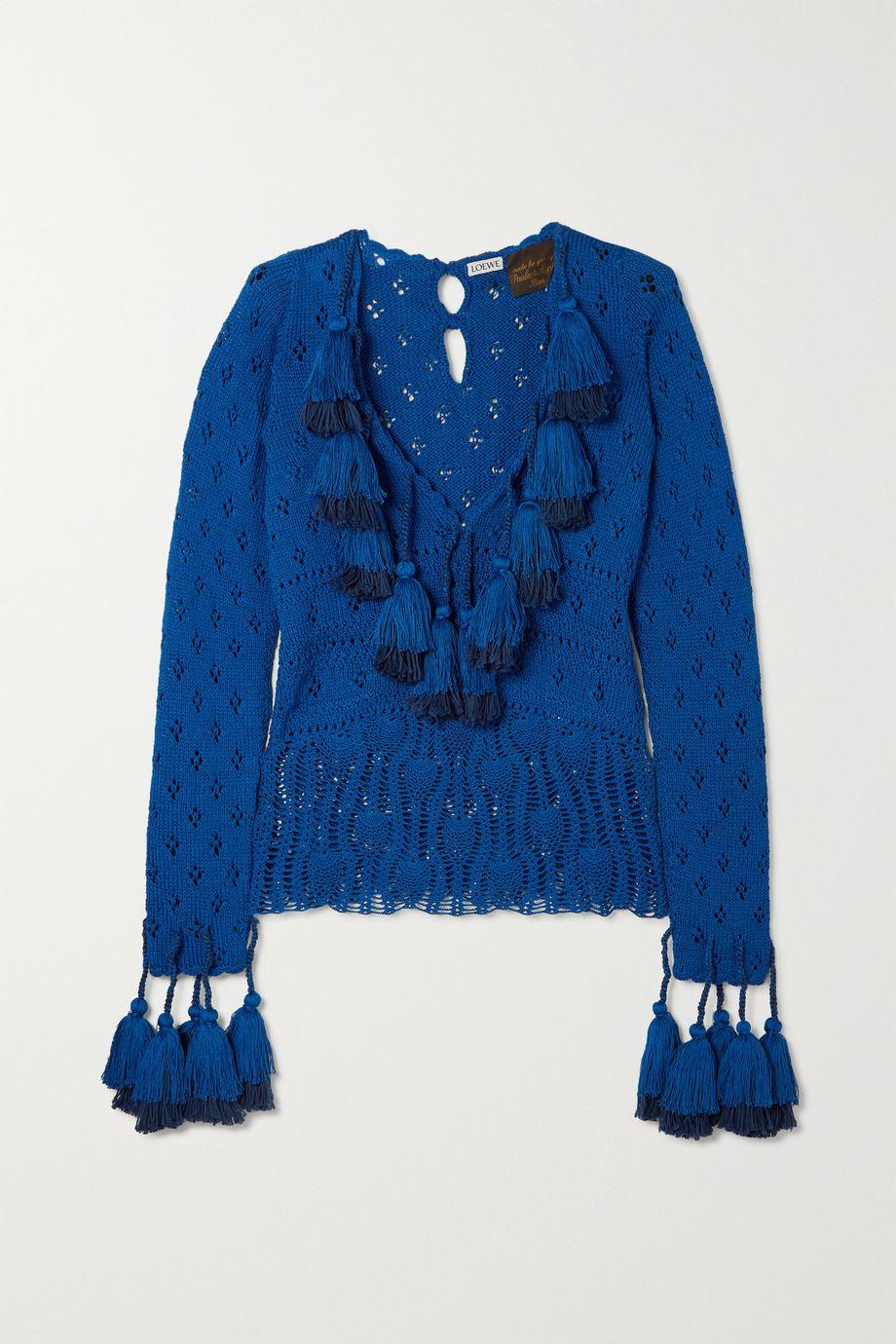 Loewe Tasseled pointelle-knit cotton sweater