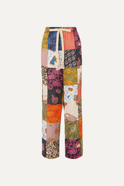 + Paula's Ibiza patchwork printed linen-blend wide-leg pants
