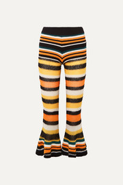 Loewe + Paula's Ibiza striped knitted flared cropped pants