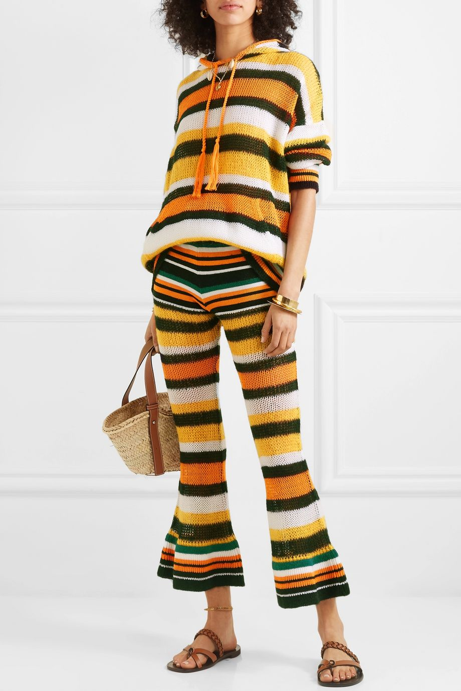 Loewe + Paula's Ibiza striped knitted flared cropped pants
