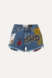 Loewe + Paula's Ibiza patchwork printed voile and denim shorts
