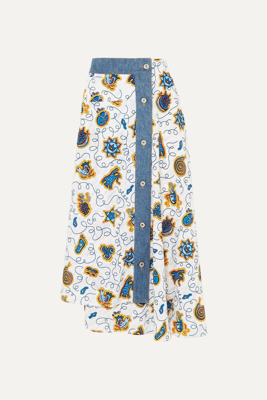 Loewe + Paula's Ibiza denim-trimmed printed crepe de chine midi skirt