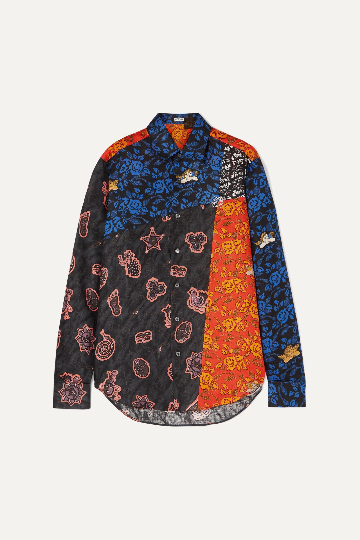 Loewe + Paula's Ibiza bedrucktes Patchwork-Hemd aus Leinen