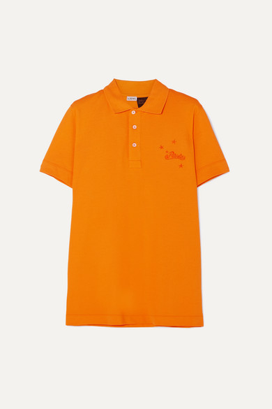 Loewe Shirts + Paula's Ibiza embroidered cotton-piqué polo shirt